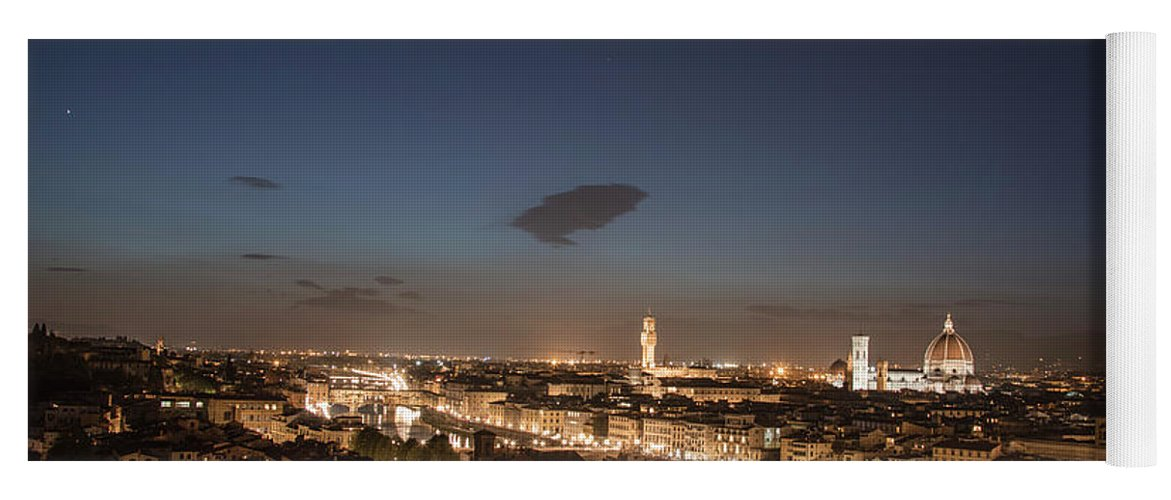 Florence Yoga Mat featuring the photograph Florence Blue Hour by John McGraw