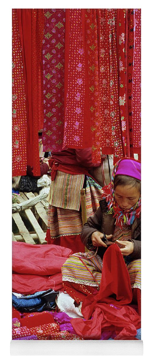 Vietnam Yoga Mat featuring the photograph Flower Hmong Fabric Stall by Rick Piper Photography