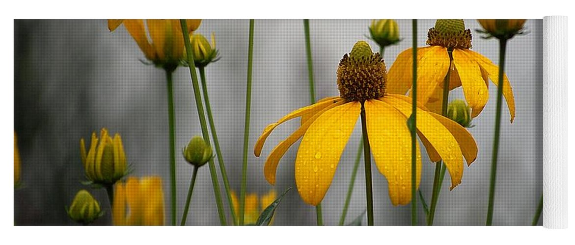 Flowers In The Rain Yoga Mat featuring the photograph Flowers In The Rain by Robert Meanor