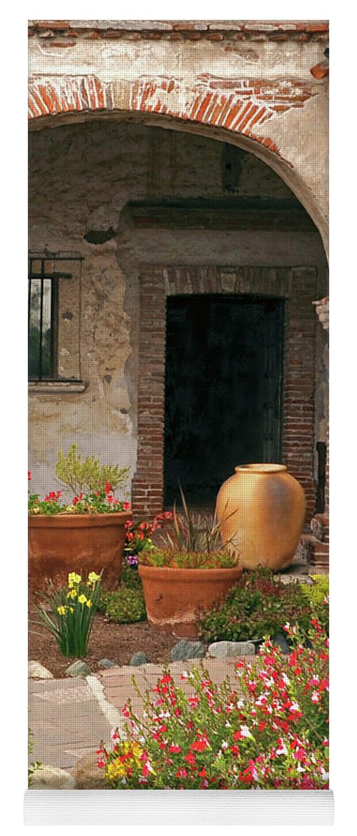 California Missions Yoga Mat featuring the photograph Flowers In The South Wing, Mission San Juan Capistrano, California by Denise Strahm