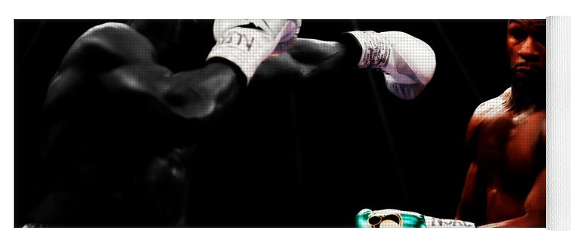 Mayweather Yoga Mat featuring the mixed media Floyd Mayweather Making Them Miss by Brian Reaves