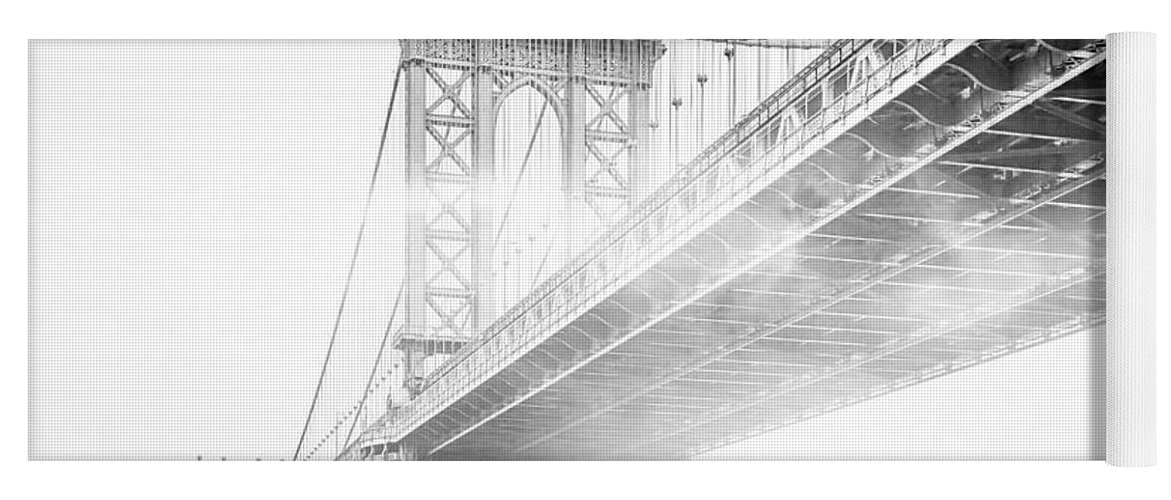 Manhattan Bridge Yoga Mat featuring the photograph Fog Under The Manhattan BW by Az Jackson