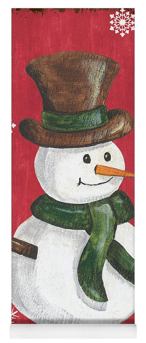 Snowman Yoga Mat featuring the painting Folk Snowman by Debbie DeWitt