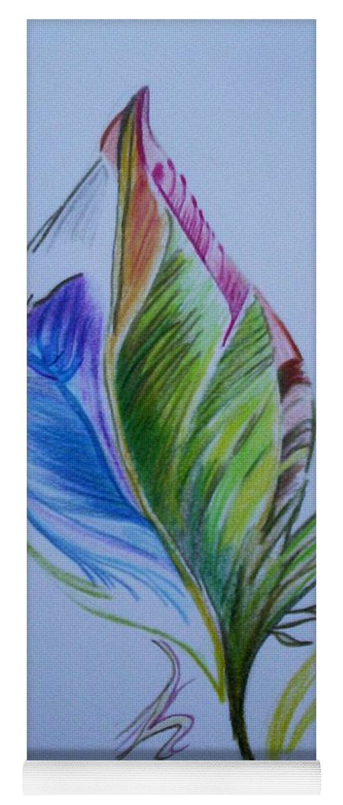 Abstract Yoga Mat featuring the drawing For Starters by Suzanne Udell Levinger