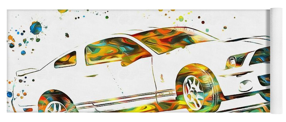 Ford Mustang Paint Splatter Yoga Mat featuring the painting Ford Mustang Paint Splatter by Dan Sproul
