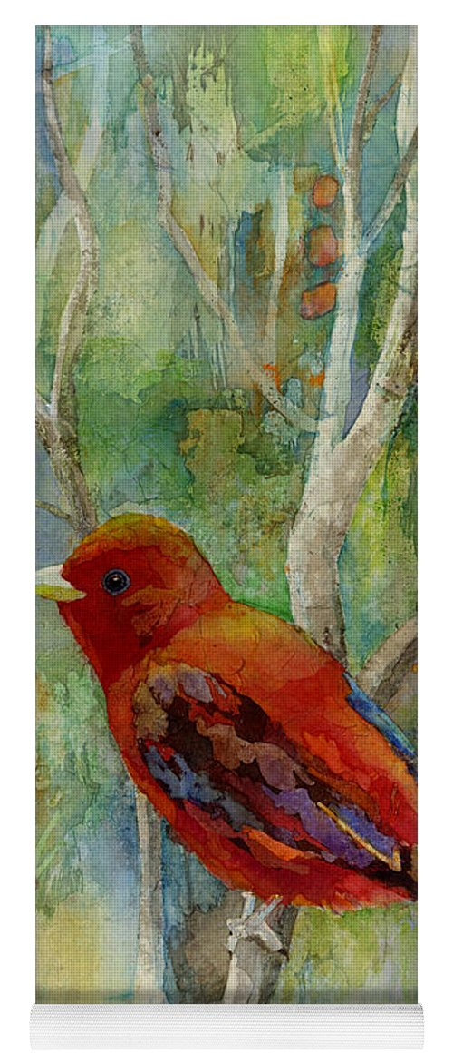 Redbird Yoga Mat featuring the painting Forest Serenity by Hailey E Herrera
