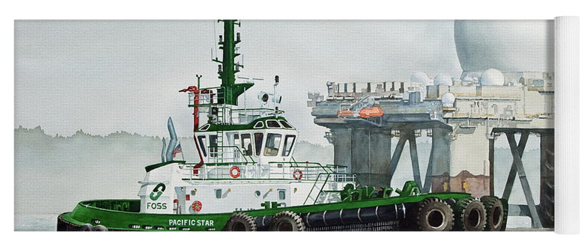 Tugs Yoga Mat featuring the painting Foss Tugboat Pacific Star by James Williamson