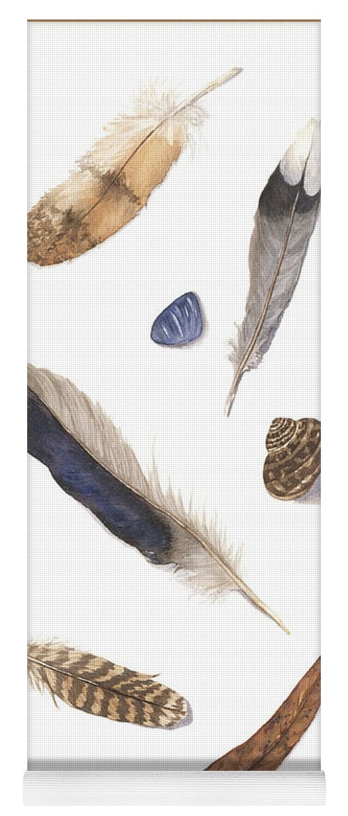 Feathers Yoga Mat featuring the painting Found Treasures by Lucy Arnold