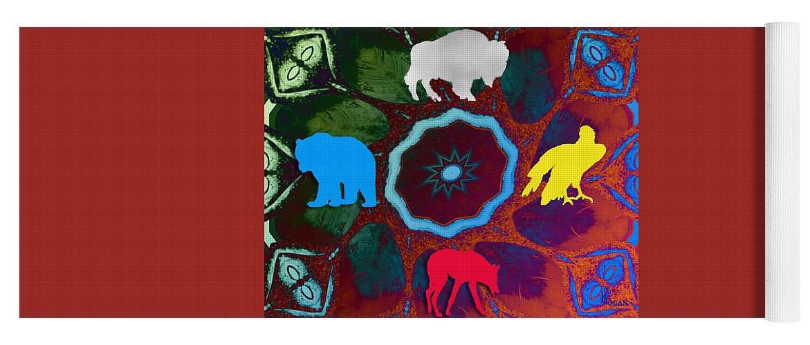 Wildlife Yoga Mat featuring the digital art Four Directions  -009 by Will Logan