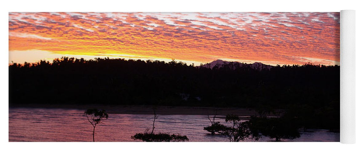 Landscape Yoga Mat featuring the photograph Four Elements Sunset Sequence 3 Coconuts Qld by Kerryn Madsen - Pietsch