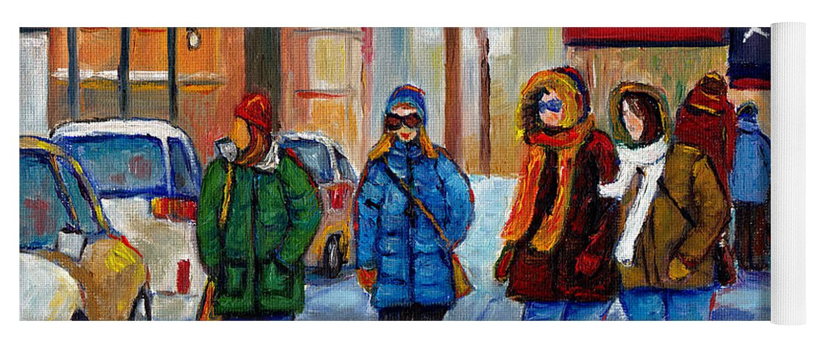ed1330017 Four Girls Shopping Along Downtown Street Montreal Winter Street ...