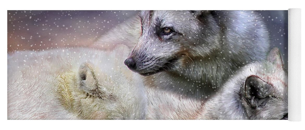 Fox Yoga Mat featuring the mixed media Fox Moods by Carol Cavalaris