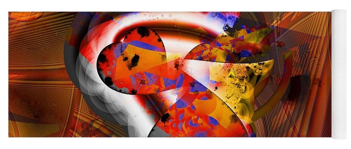 Heart Yoga Mat featuring the digital art Fractal Heart by Ron Bissett