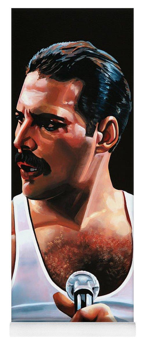 Freddie Mercury Yoga Mat featuring the painting Freddie Mercury by Paul Meijering