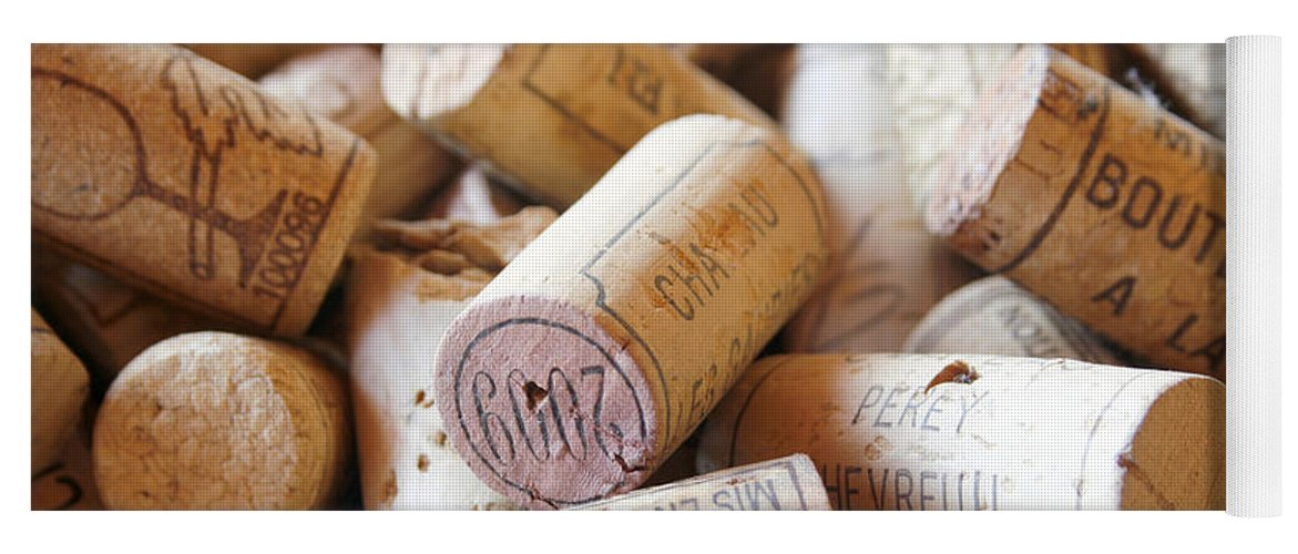 Wine Corks Yoga Mat featuring the photograph French Wine Corks by Georgia Fowler