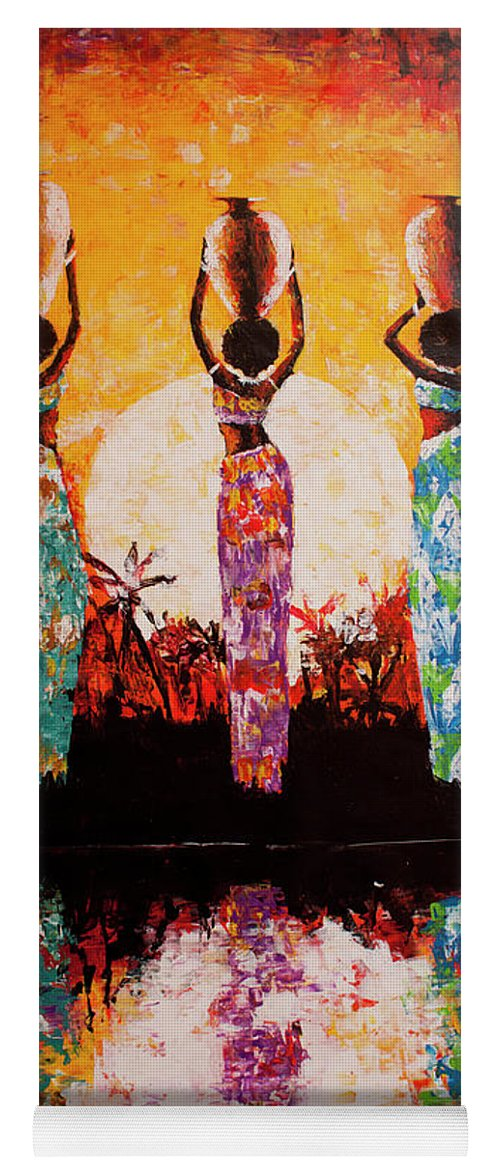 African Art Yoga Mat featuring the painting From The River by Jethro Longwe