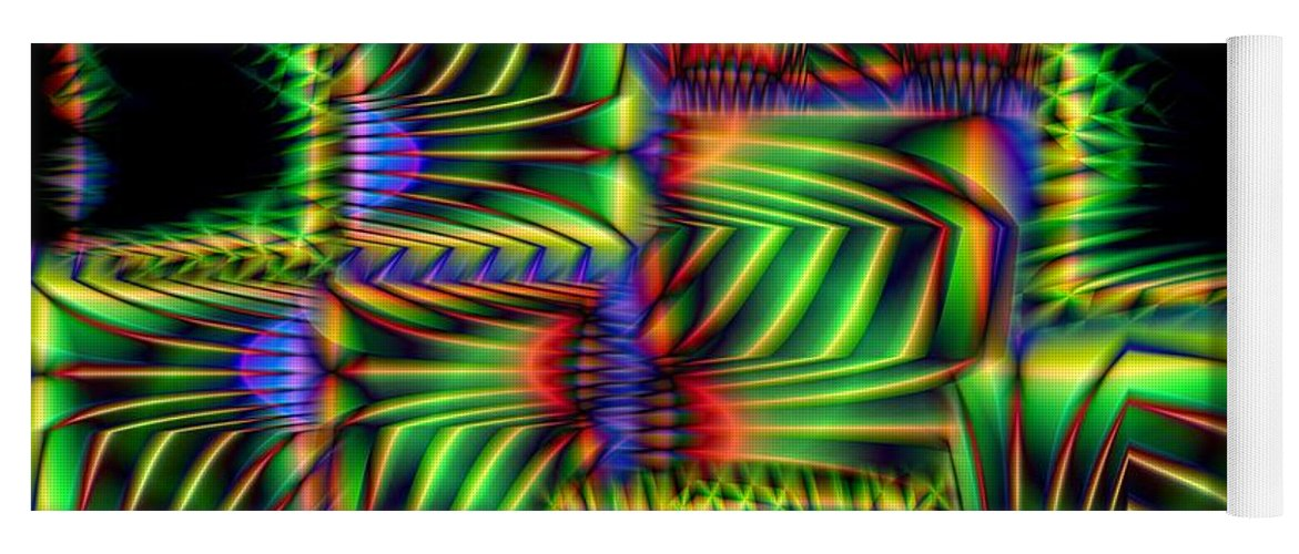 Abstract Yoga Mat featuring the digital art Frond Collage by Ron Bissett