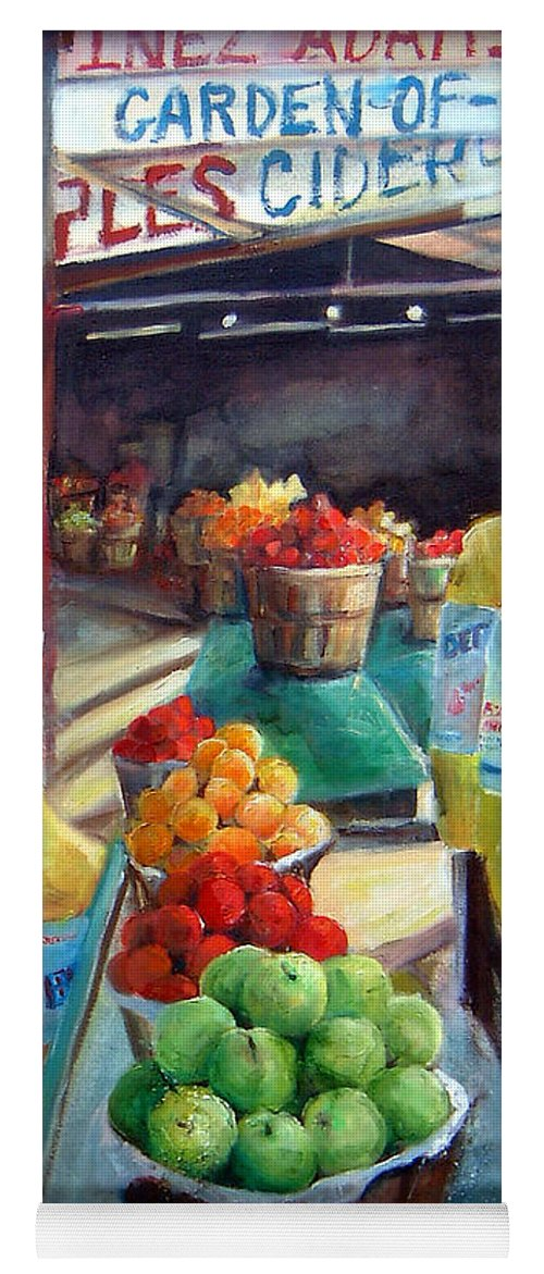 Fruit Yoga Mat featuring the painting Fruitstand Rhythms by Linda Shackelford