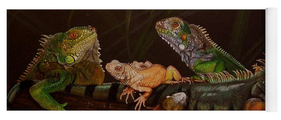Iguana Yoga Mat featuring the drawing Full House by Barbara Keith