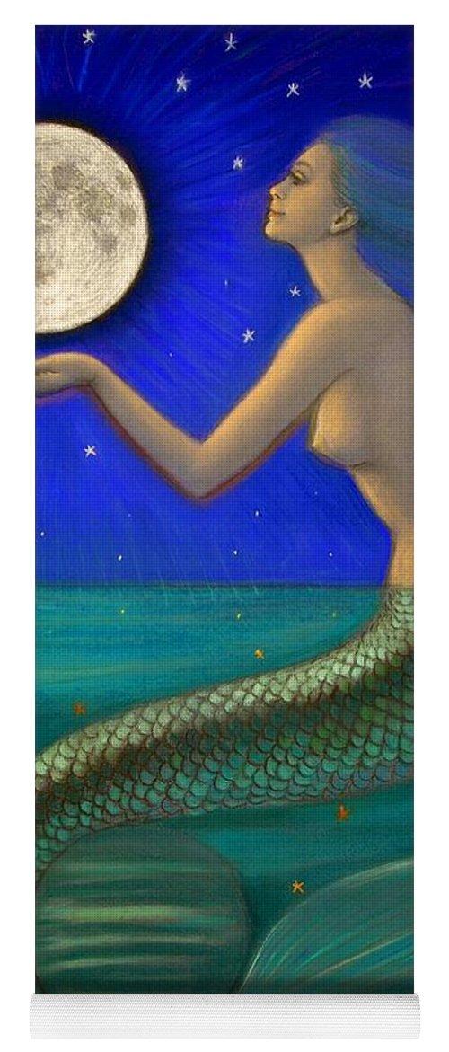 Mermaids Yoga Mat featuring the painting Full Moon Mermaid by Sue Halstenberg