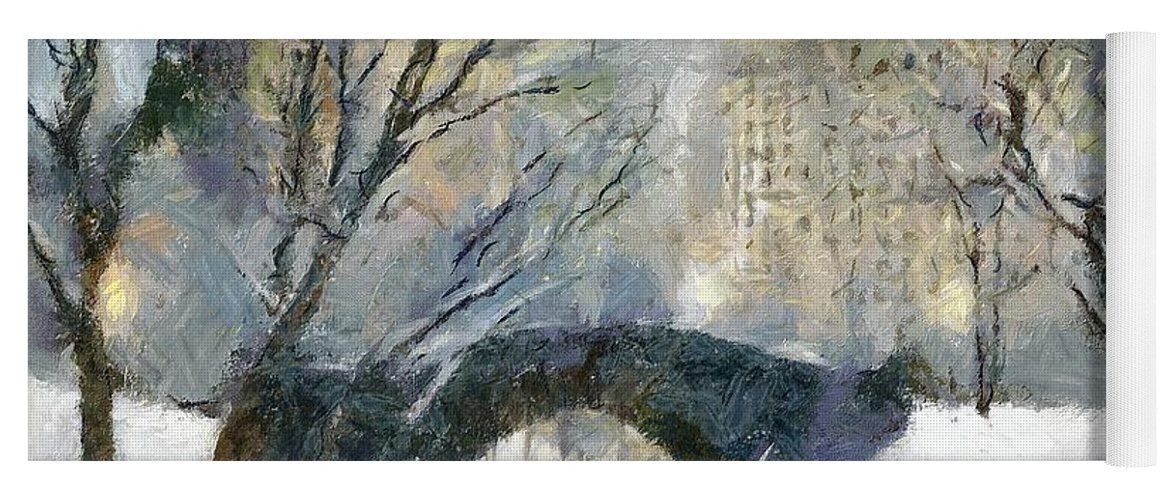 Cityscape Yoga Mat featuring the painting Gapstow Bridge In Snow by Dragica Micki Fortuna