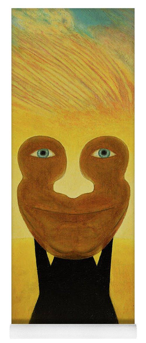 Face Yoga Mat featuring the painting Gemini. Self-portrait by Oleg Konin