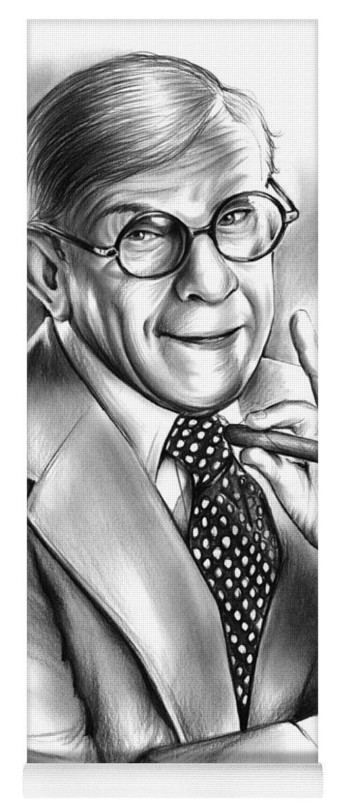 George Burns Yoga Mat featuring the drawing George Burns by Greg Joens