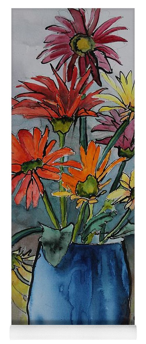 Flowers Yoga Mat featuring the painting Gerberas In A Blue Pot by Ruth Kamenev