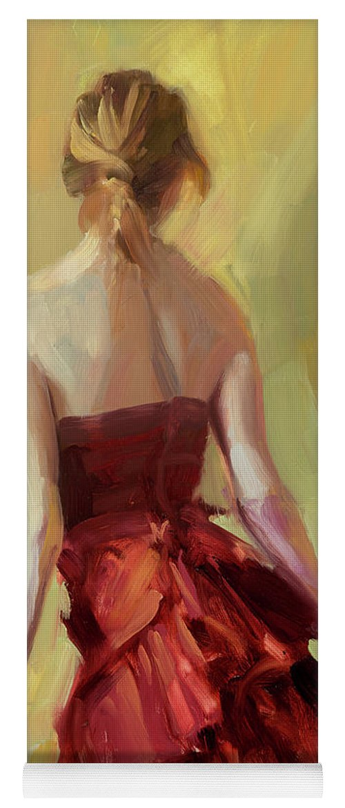 Girl Yoga Mat featuring the painting Girl In A Copper Dress I by Steve Henderson