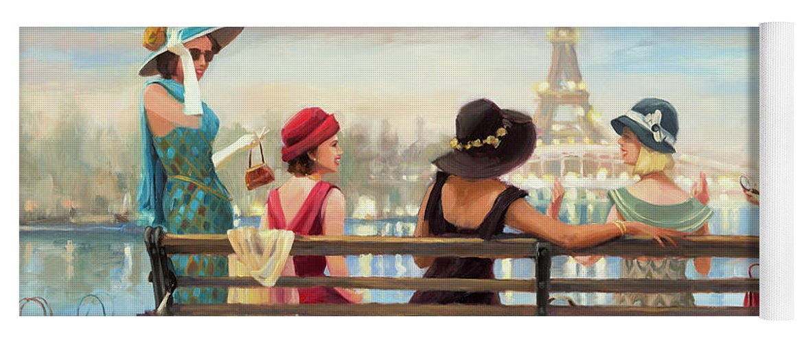 Paris Yoga Mat featuring the painting Girls Day Out by Steve Henderson