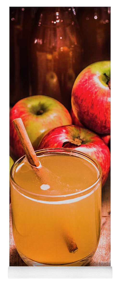 Apple Yoga Mat featuring the photograph Glass Of Fresh Apple Cider by Jorgo Photography - Wall Art Gallery