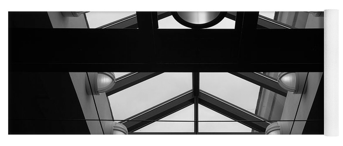 Black And White Yoga Mat featuring the photograph Glass Sky Lights by Rob Hans