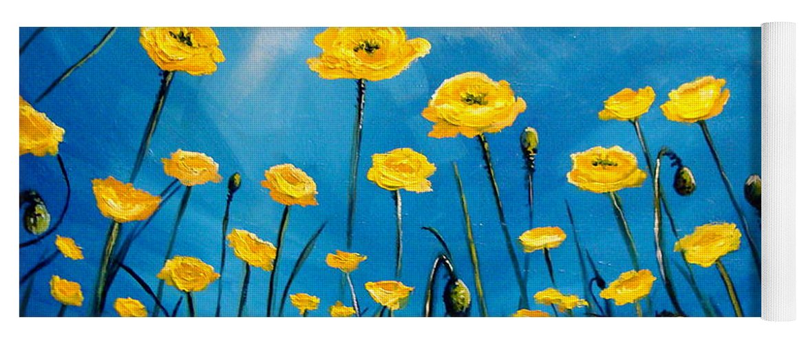 Poppies Yoga Mat featuring the painting Gleaming by Elizabeth Robinette Tyndall