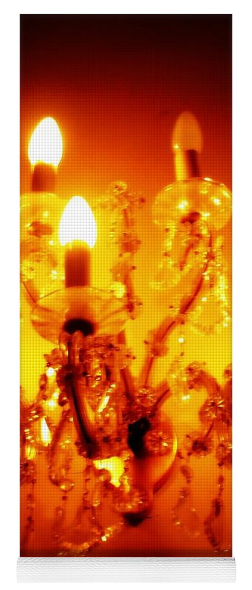 Dining Room Decor Yoga Mat featuring the photograph Glowing Chandelier--Companion Piece by Carol Groenen