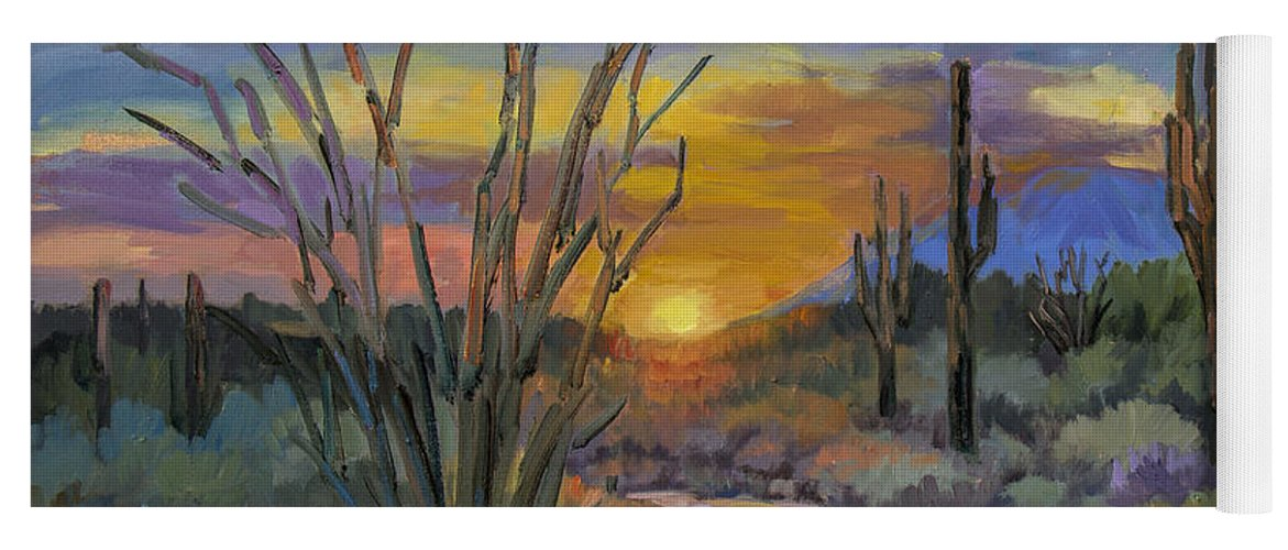 Sonoran Desert Yoga Mat featuring the painting God's Day - Sonoran Desert by Diane McClary
