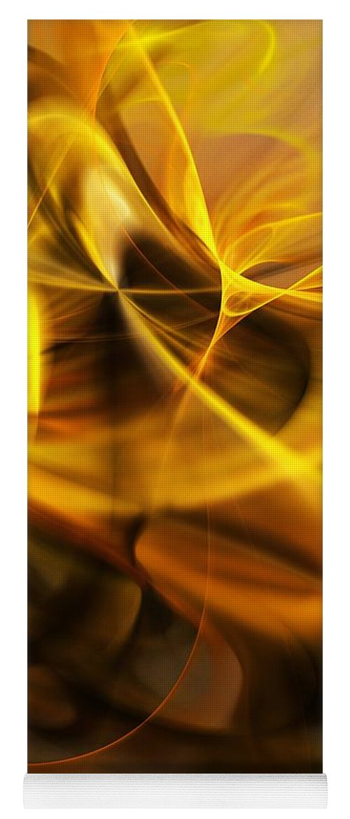 Fractal Yoga Mat featuring the digital art Gold and Shadows by David Lane