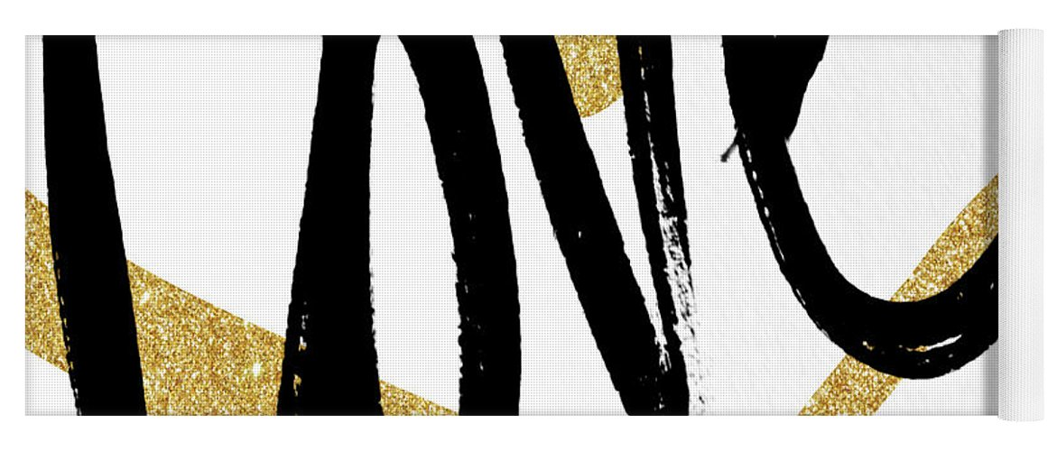 Gold Yoga Mat featuring the painting Gold Heart Black Script Love by South Social Studio