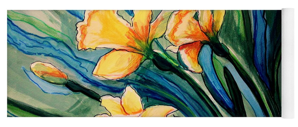 Floral Yoga Mat featuring the painting Golden Daffodils by Elizabeth Robinette Tyndall