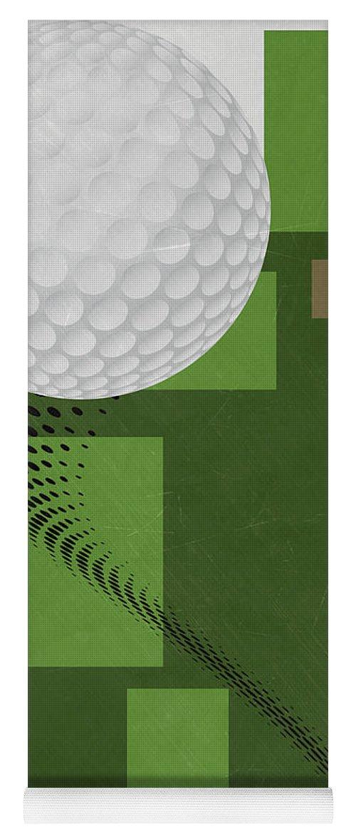 Golf Yoga Mat featuring the mixed media Golf Art Par 4 by Joe Hamilton