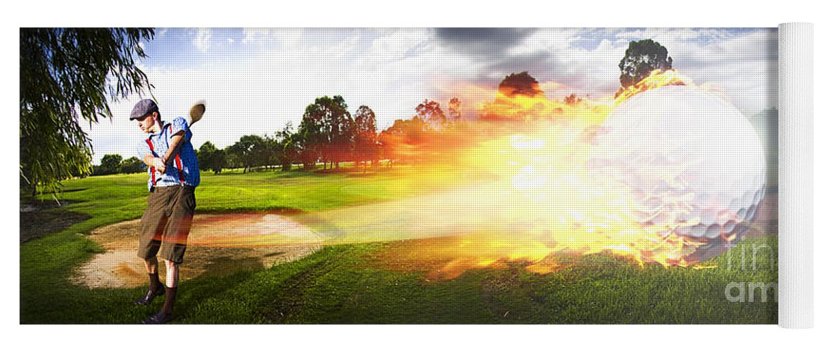 Vacation Yoga Mat featuring the photograph Golf Ball On Fire by Jorgo Photography - Wall Art Gallery