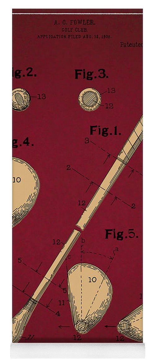 Golf Yoga Mat featuring the digital art Golf Club Patent Drawing Dark Red 2 by Bekim M