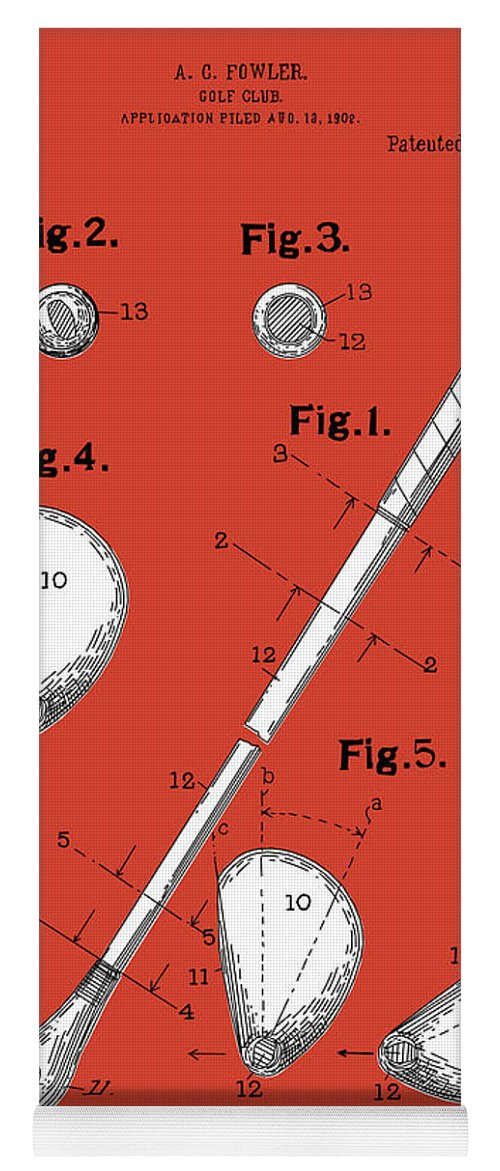 Golf Yoga Mat featuring the digital art Golf Club Patent Drawing Red by Bekim M