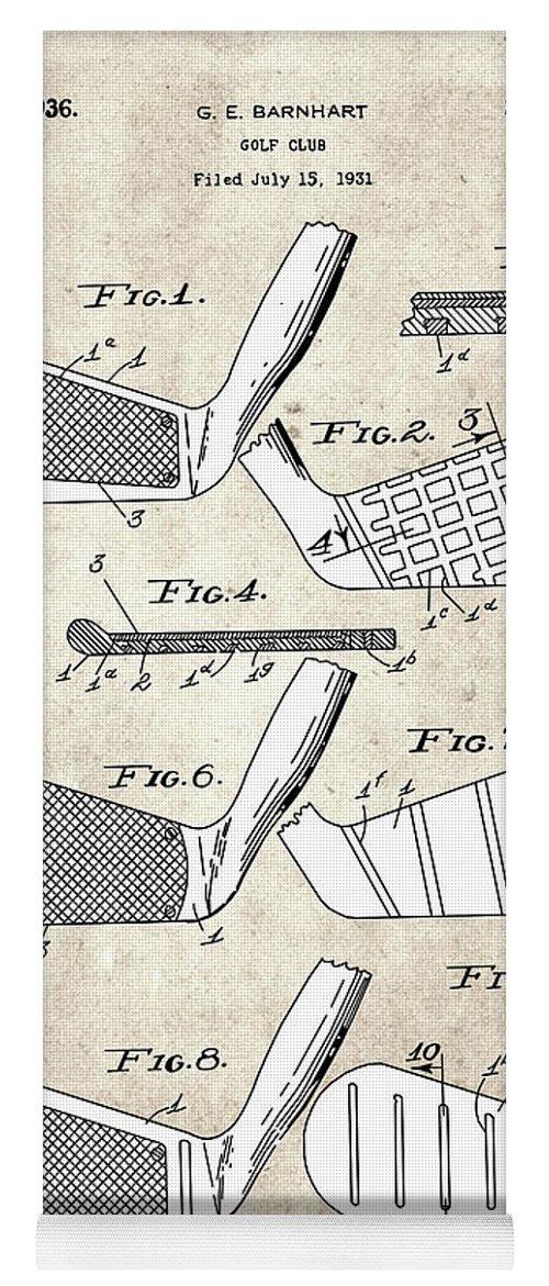 Golf Yoga Mat featuring the digital art Golf Club Patent Drawing Vintage 5 by Bekim M