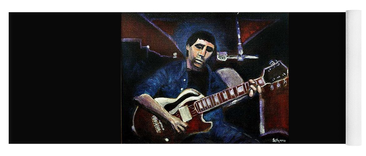 Shining Guitar Yoga Mat featuring the painting Graceland Tribute to Paul Simon by Seth Weaver