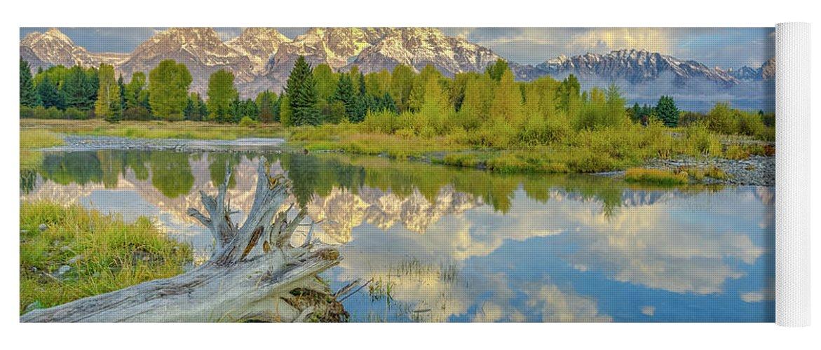 Adventure Yoga Mat featuring the photograph Grand Teton Riverside Morning Reflection by Scott McGuire