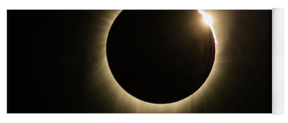 Great American Eclipse Yoga Mat featuring the photograph Great American Eclipse Diamond Ring 5x7 As Seen In Albany, Oregon. by John King