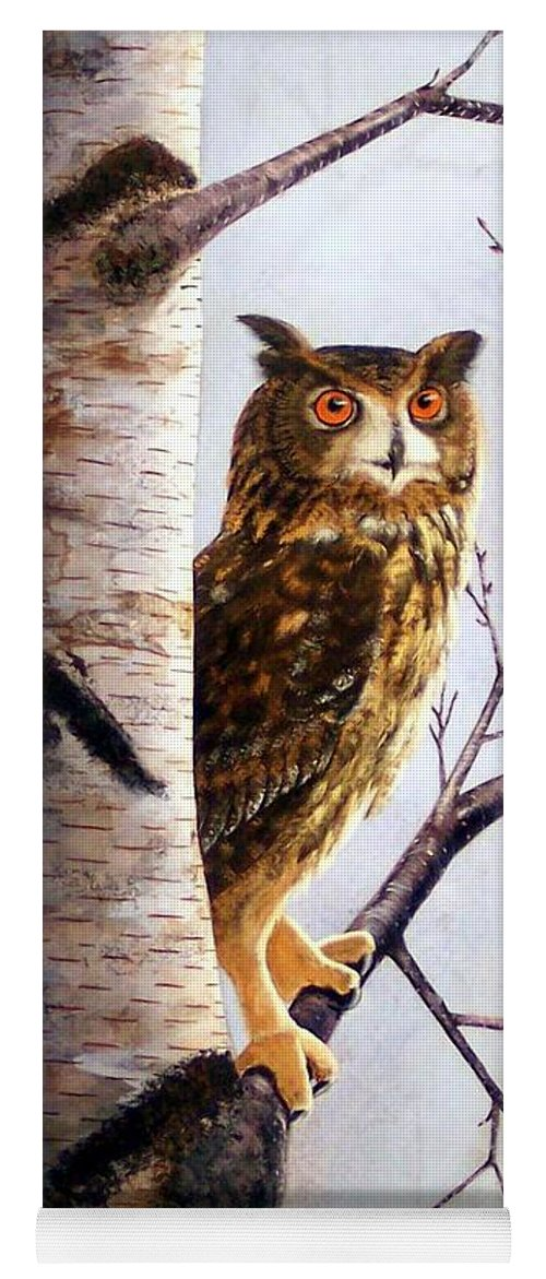 Great Horned Owl In Birch Yoga Mat featuring the painting Great Horned Owl In Birch by Frank Wilson