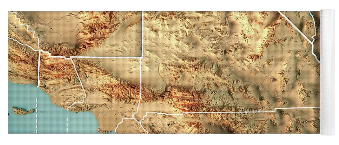 Greater Los Angeles Area Usa 3d Render Topographic Map Border Yoga