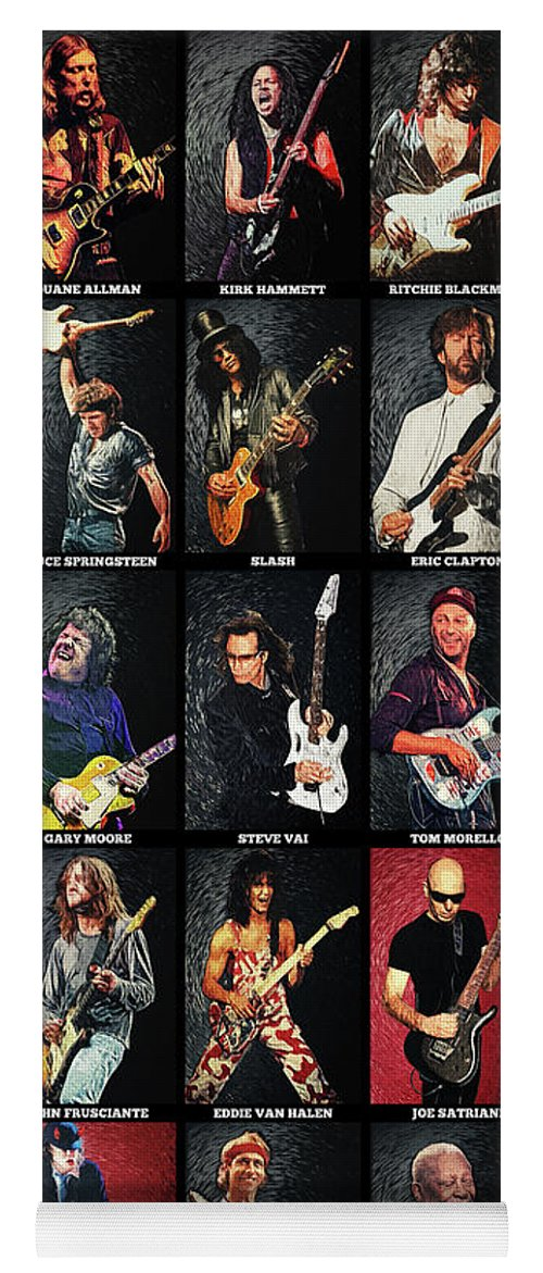 Guitar Yoga Mat featuring the digital art Greatest Guitarists Of All Time by Zapista OU