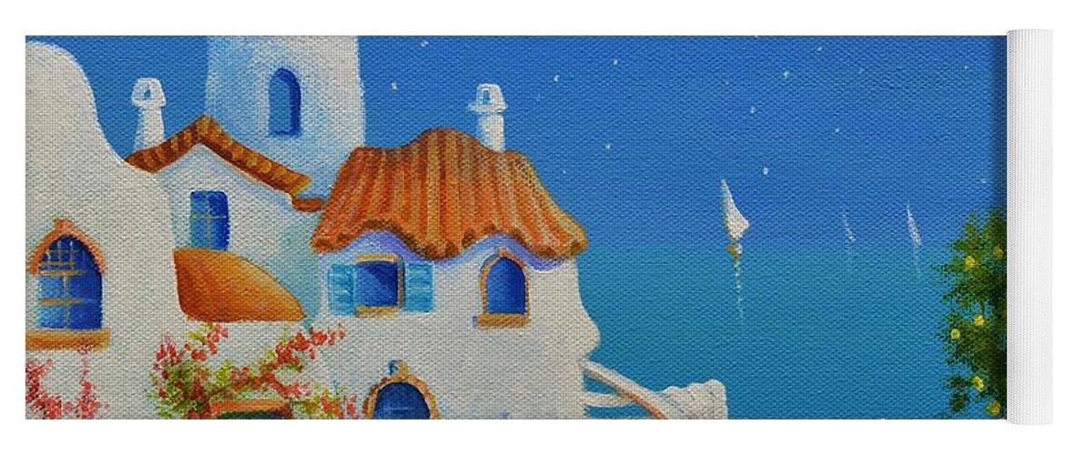Greek Blue Yoga Mat featuring the painting Greek Blue Santorini A Greek Fairytale by Ray Gilronan